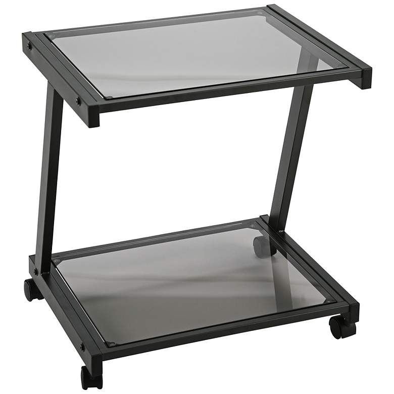 "L 22"" High Smoked Glass and Graphite Printer Cart"
