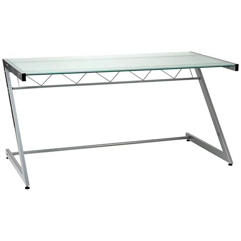 "Zeus 61"" Wide Deluxe Large Frosted Glass Aluminum Desk"