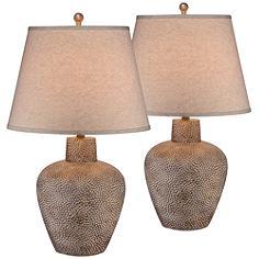 Bentley Brown Leaf Hammered Pot Table Lamp Set of 2
