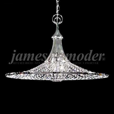 "James Moder Contemporary 26""W Silver Crystal Pendant Light"