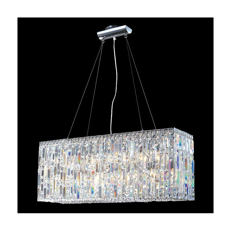 "James Moder 33""W Silver Crystal Kitchen Island Light Pendant"