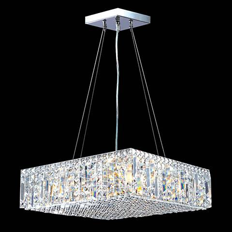 "James Moder Contemporary 20""W Silver Crystal Pendant Light"