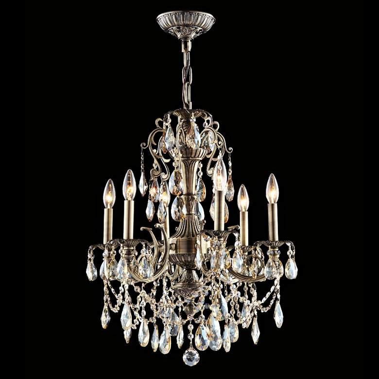 James Moder Impact Monaco 6-Light Teak Crystal Chandelier