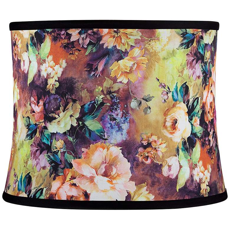 Black Velvet and Floral Print Shade 13x14x11 (Spider)