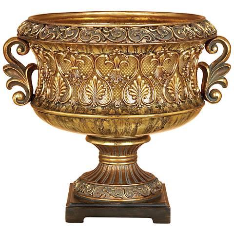 Apache Tarnished Gold Polystone Decorative Italian Bowl