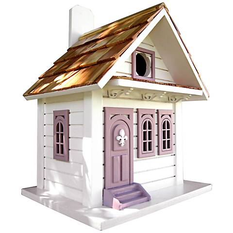 White and Lavender Cottage Birdhouse