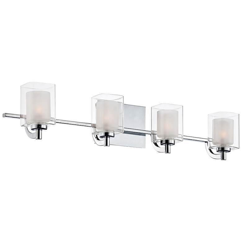 "Quoizel Kolt 29"" Wide Chrome and Glass LED Bathroom Light"