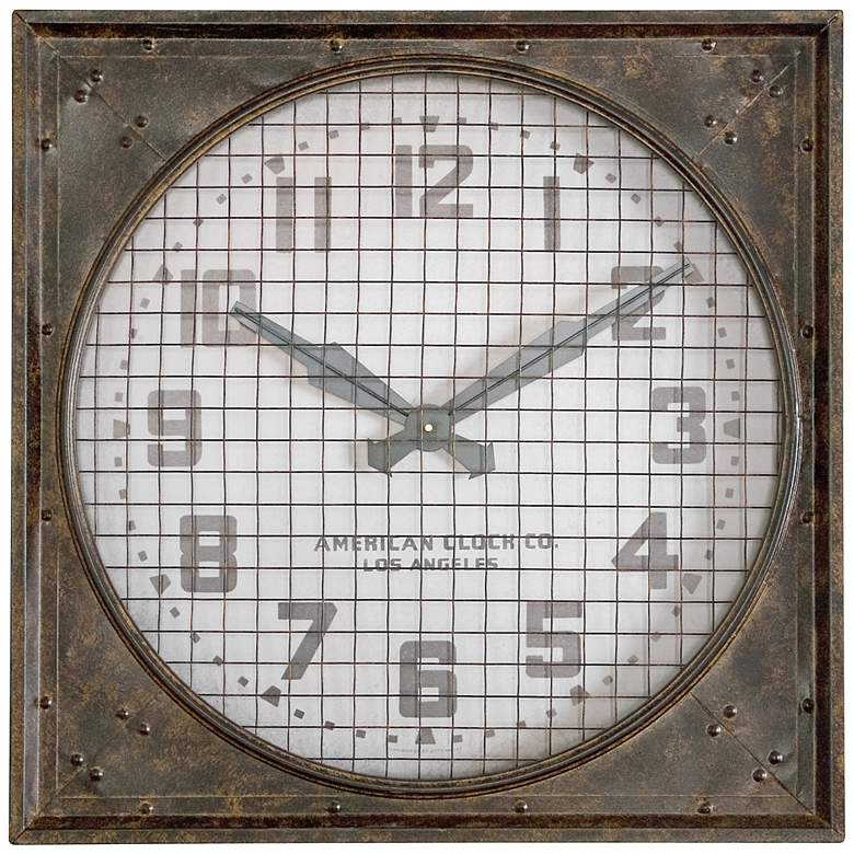 """Industrial Warehouse 26"""" Wide Clock with Metal Grill"""