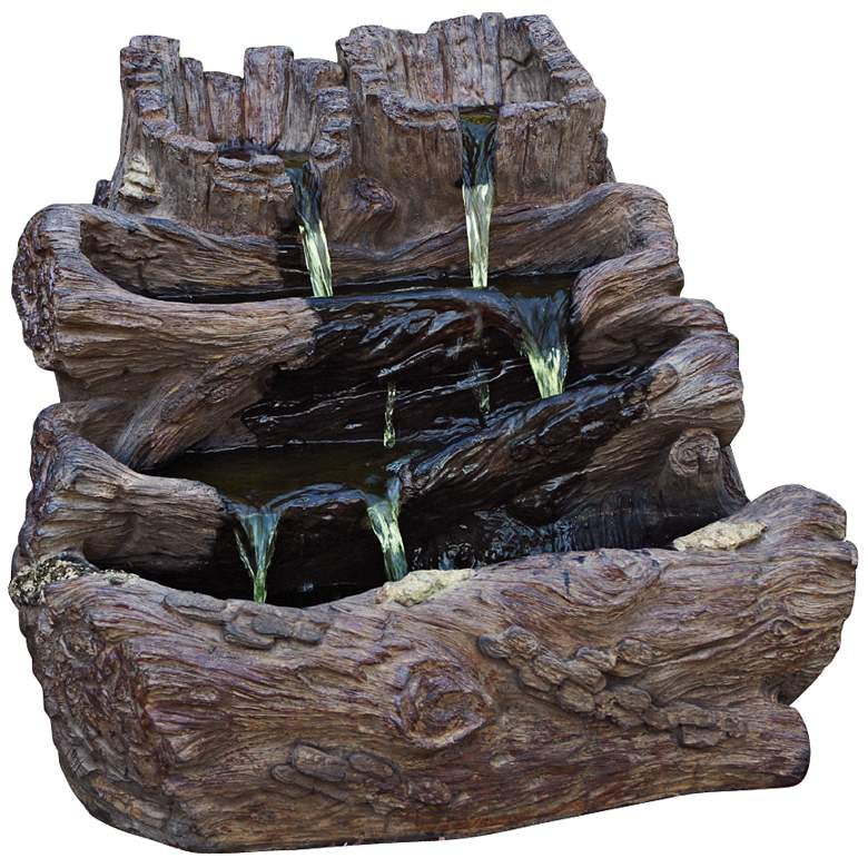 Spilling Logs Cast Stone Fountain with Light