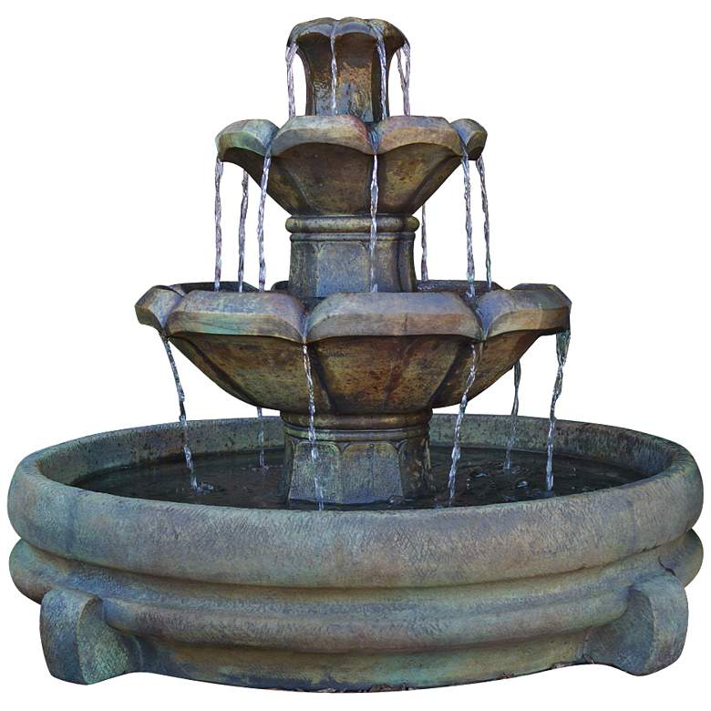 "Henri Studio Montreux 32"" Cast Stone 3-Tier Garden Fountain"