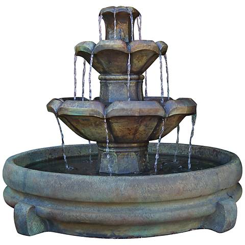 "Montreux Three-Tier Cast Stone 32"" High Fountain"