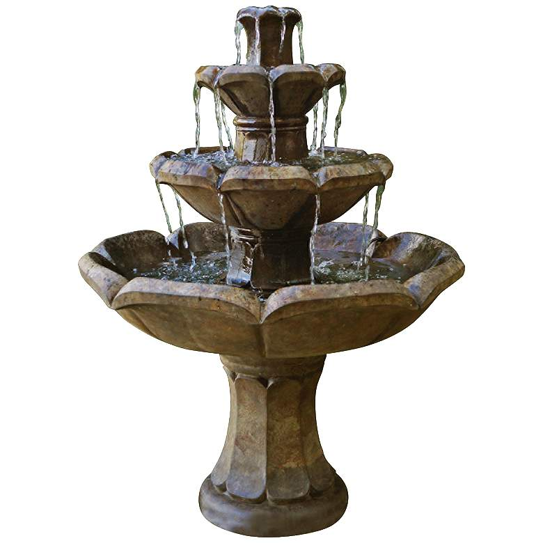 "Henri Studio Montreux 48""H Cast Stone 4-Tier Floor Fountain"