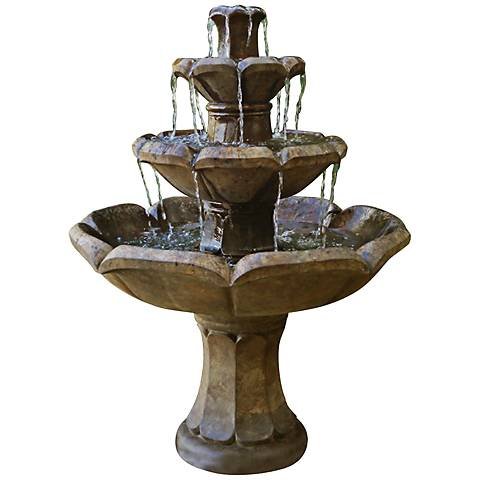 "Montreux Four-Tier Cast Stone 48"" High Fountain"