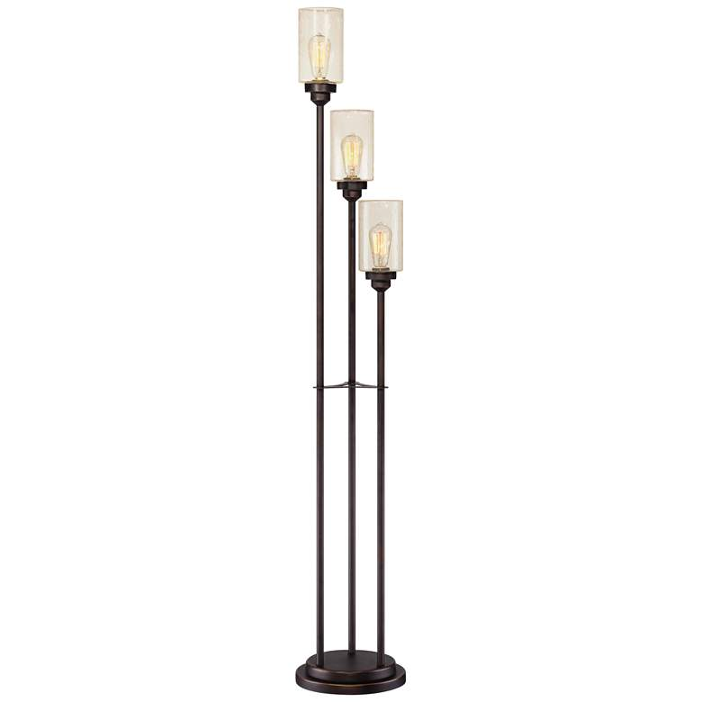 Libby Oiled Bronze and Seeded Glass LED 3-Light Tree Floor Lamp