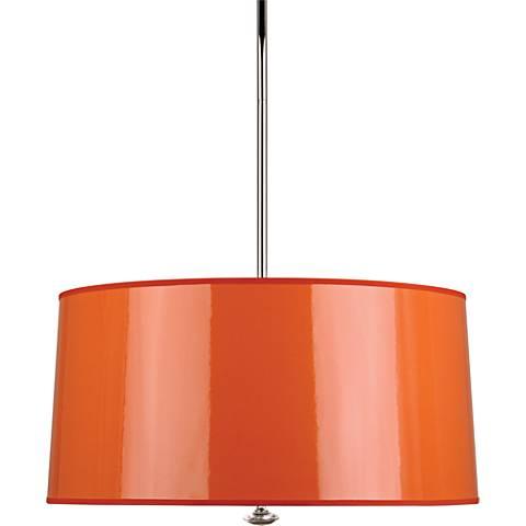 """Penelope 25 1/2""""W Orange Shade Polished Nickel Pendant Light"""