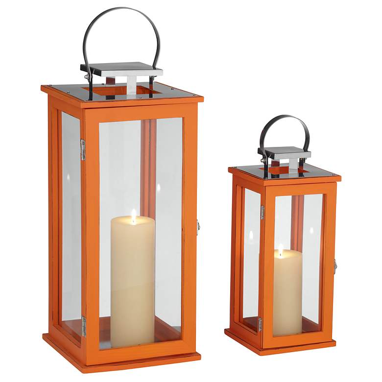 Rachael Set of 2 Tall Orange Lantern Candle Holders