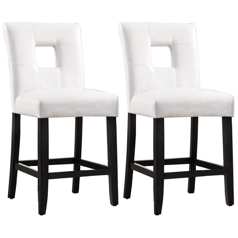 Sensational Homebelle 24 White Keyhole Counter Stools Set Of 2 Lamtechconsult Wood Chair Design Ideas Lamtechconsultcom