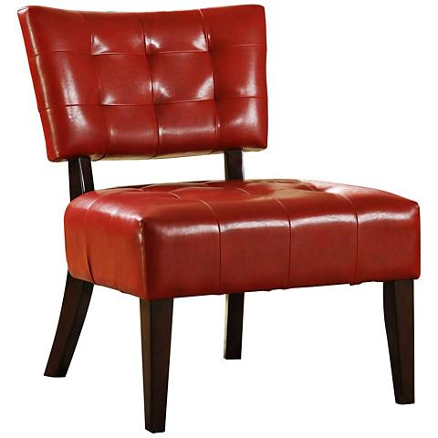 HomeBelle Red Faux Leather Accent Chair