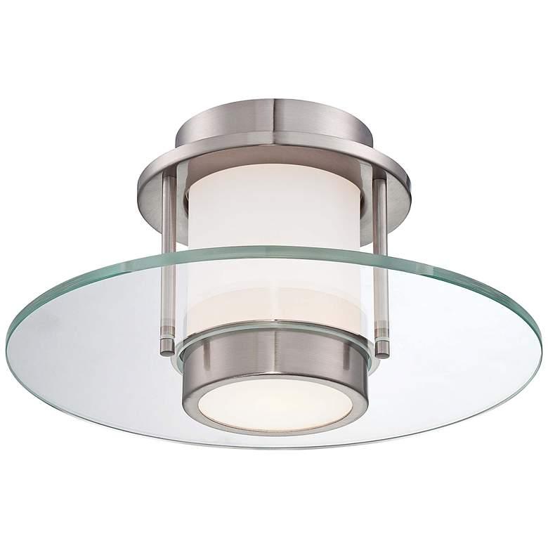 "George Kovacs 13"" Wide Brushed Nickel Modern Ceiling Light"