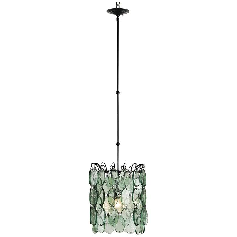 """Currey and Company Airlie 14""""W Recycled Glass Pendant Light"""