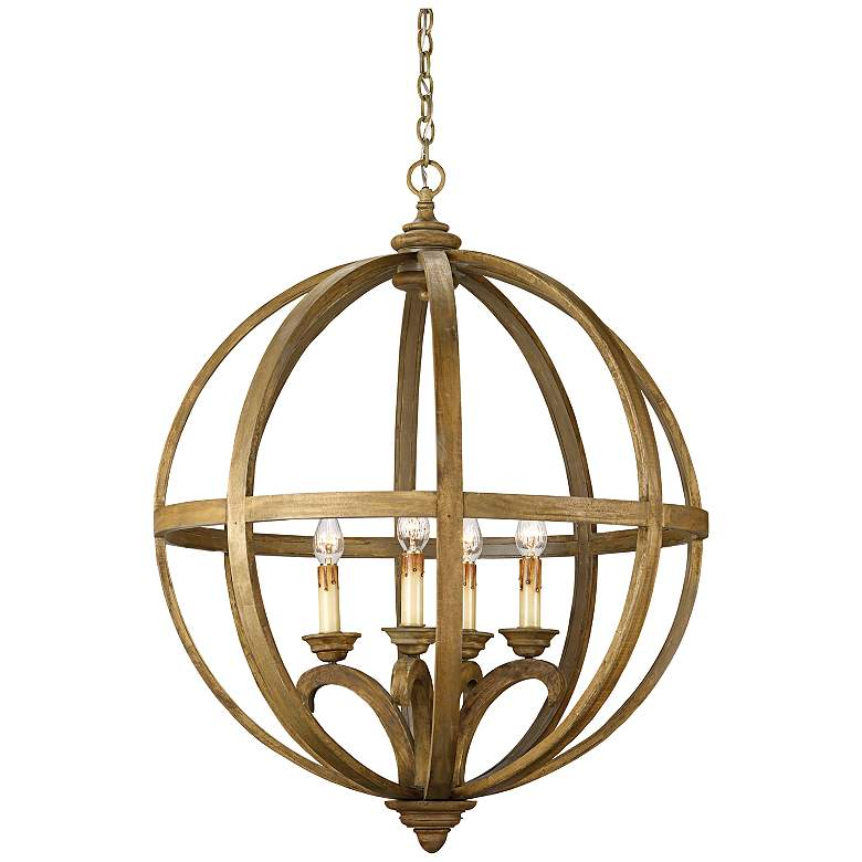 """Currey and Company Axel Orb 5-Light 32"""" Wide Chandelier"""