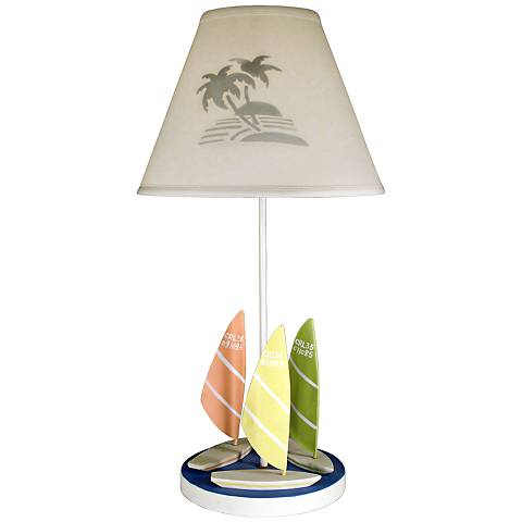 "Wind Surf 25 1/4"" High Table Lamp With Cloth Shade"