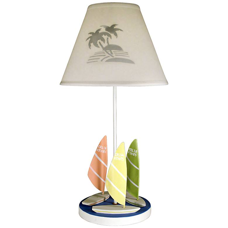 """Wind Surf 25 1/4"""" High Table Lamp With Cloth Shade"""