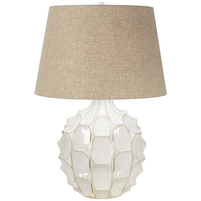 Cosgrove Round White Ceramic Modern Table Lamp