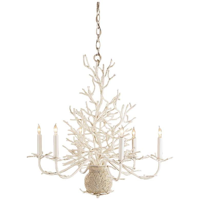"""Currey and Company Seaward 29"""" Wide White Sand Chandelier"""