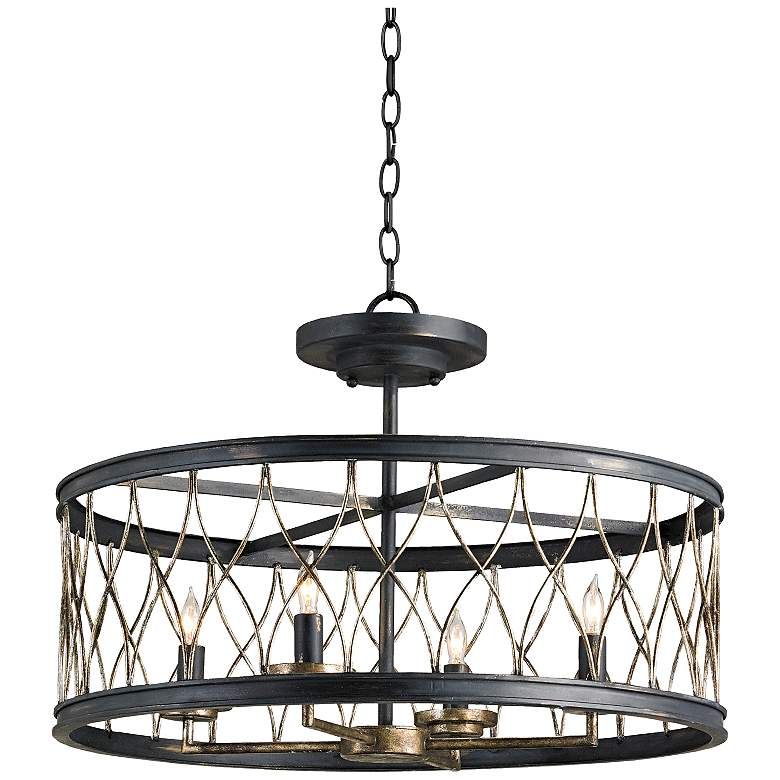 """Currey and Company Crisscross 22"""" Wide Black Chandelier"""