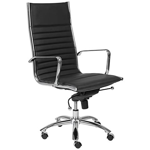 Lugano High-Back Chrome and Black Office Chair
