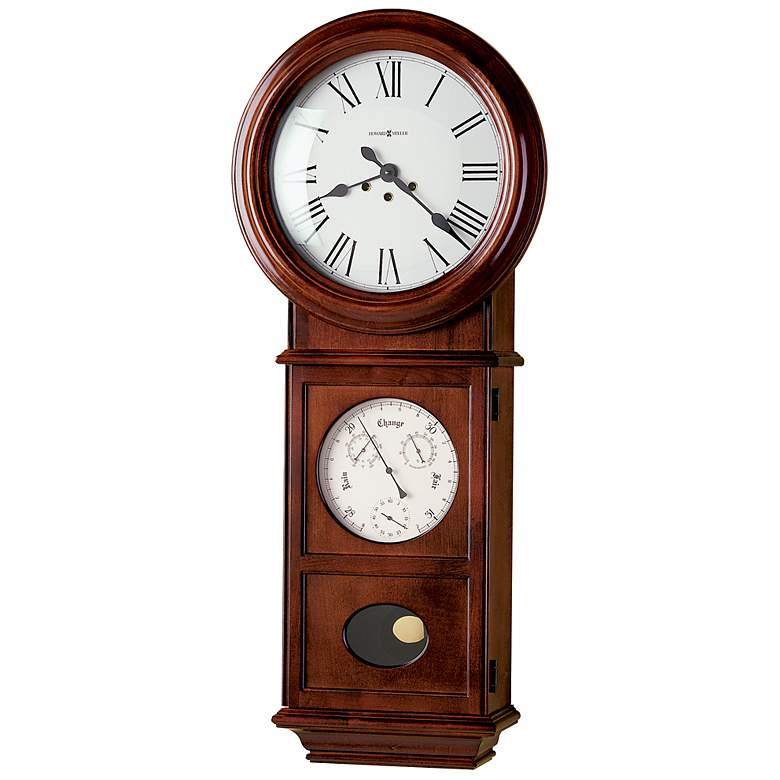 """Lawyer 36"""" High Weather Station Chiming Wall Clock"""