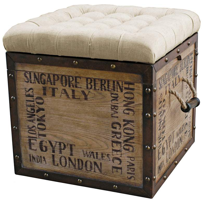 Terrific Birch Wood Crate Upholstered Storage Ottoman Machost Co Dining Chair Design Ideas Machostcouk