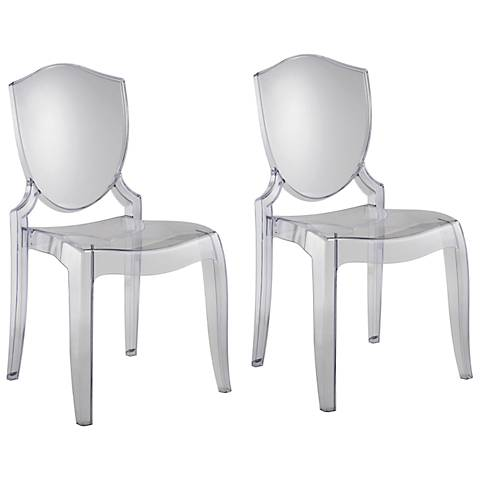 HomeBelle Set of 2 Transparent Chairs