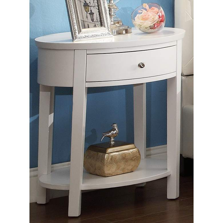 "HomeBelle 24"" Wide Classic White Oval Nightstand"