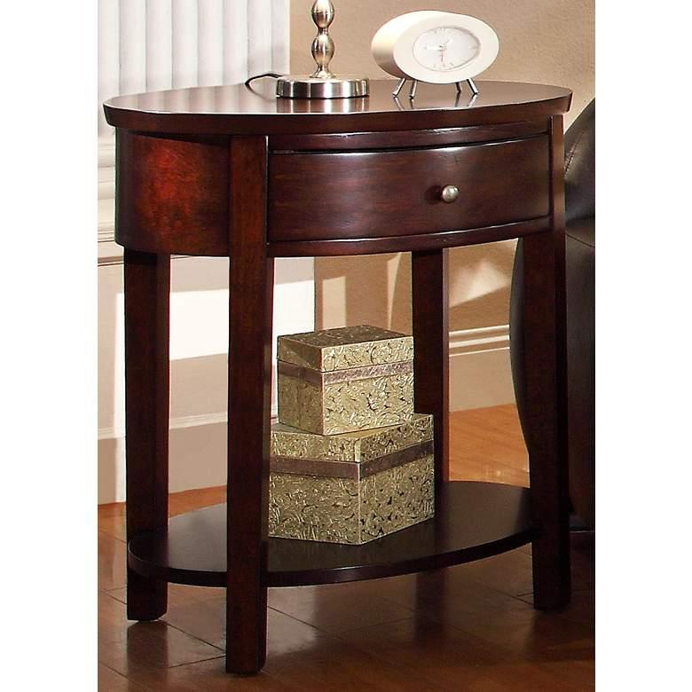 "HomeBelle 24"" Wide Classic Espresso Oval Nightstand"