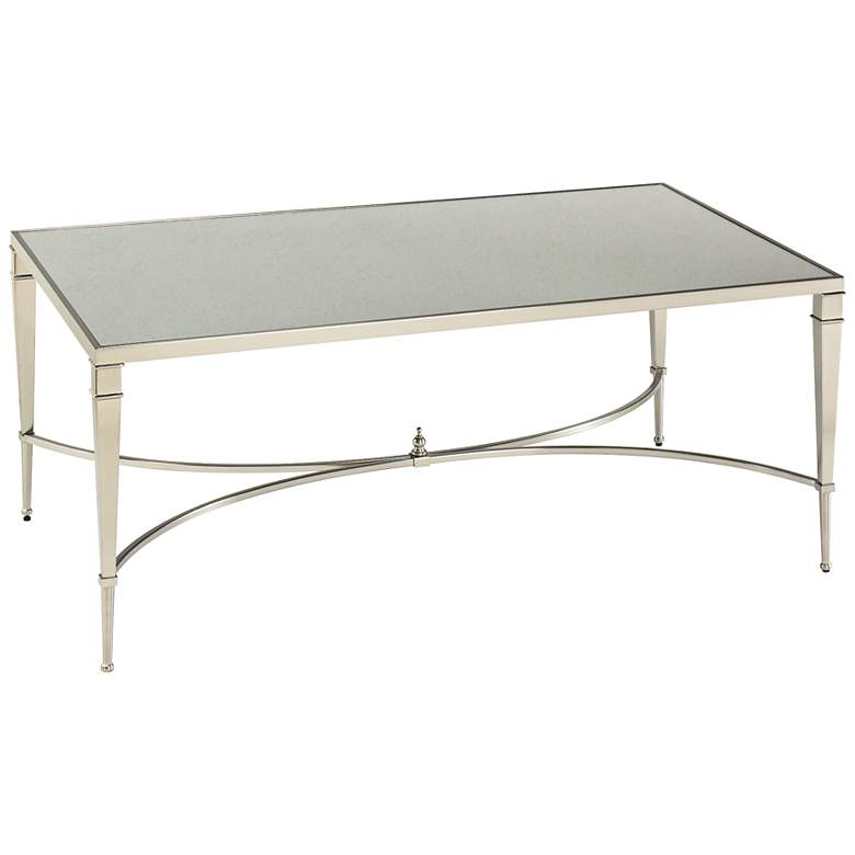 """Mallory 48"""" Wide Rectangular Glass and Nickel Cocktail Table"""