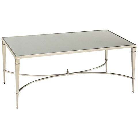 Mallory Rectangular Glass and Nickel Cocktail Table