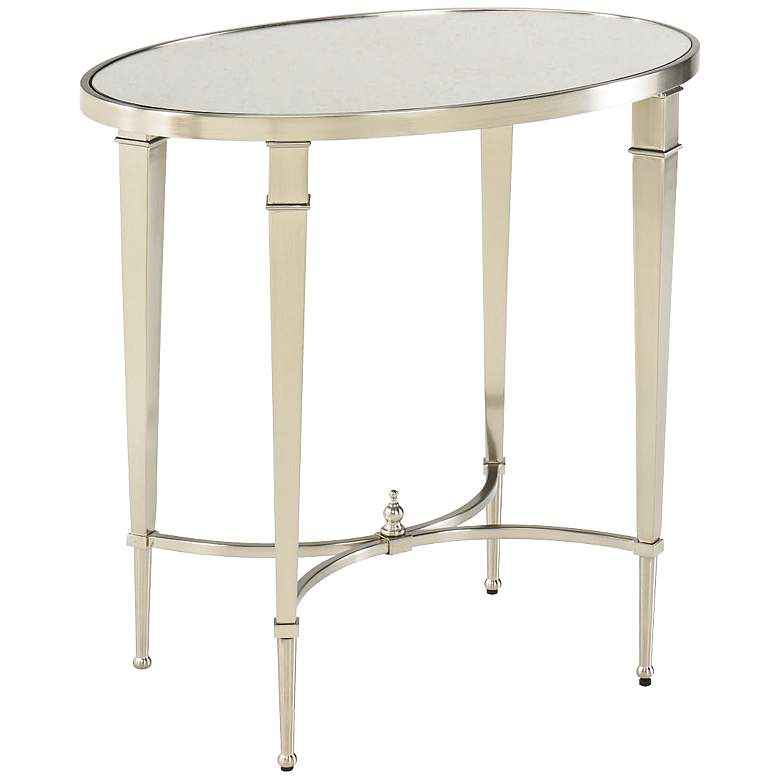 """Mallory 27"""" Wide Oval Glass and Nickel End Table"""