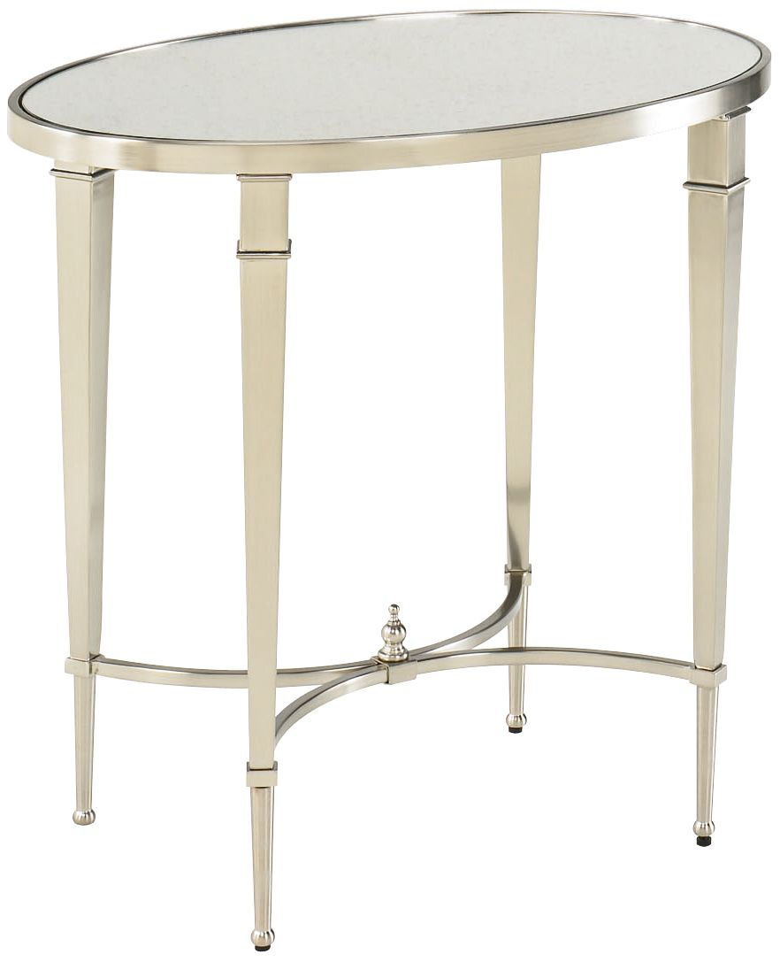 Hammary Mallory Oval Glass And Nickel End Table