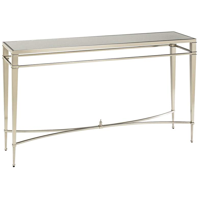 "Mallory 54"" Wide Rectangular Glass and Nickel Sofa Table"