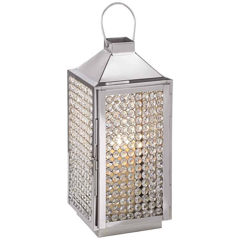 "Chrome and Crystal 16"" High Lantern Candleholder"