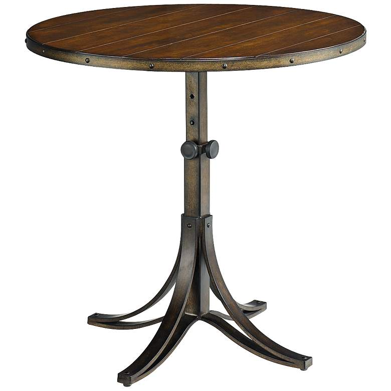 Adjustable Height Round Table.Mercantile 25 1 2 Wide Adjustable Height Wood Top End Table