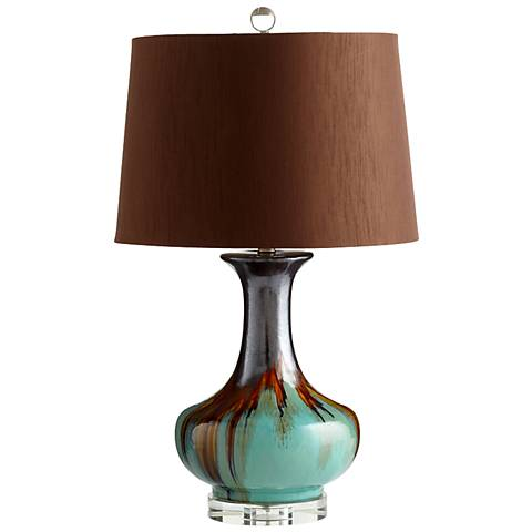 Hyde Brown and Cyan Blue Ceramic Table Lamp
