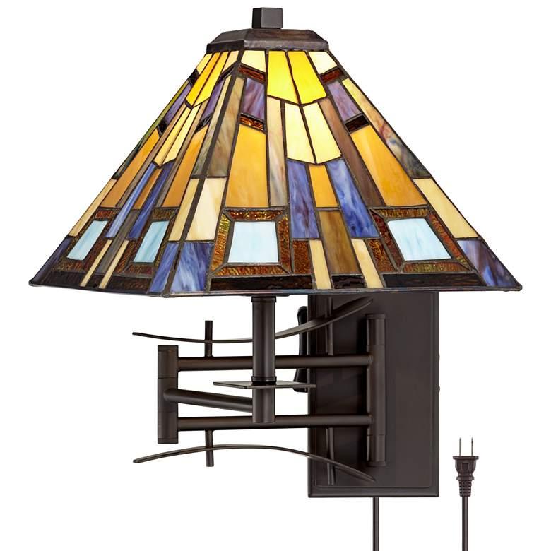 Jewel Tone Tiffany Style Plug-In Swing Arm Wall Lamp