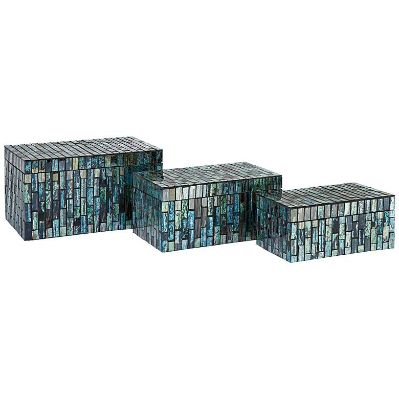 Set of 3  Aramis Blue Glass Mosaic Boxes