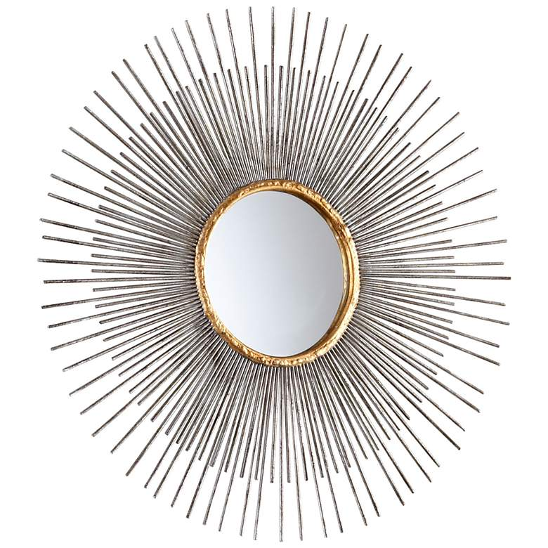 "Small Pixley Antique Silver 18"" Round Sunburst Wall Mirror"