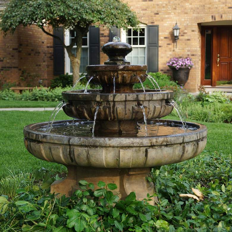 """Large Regal 33"""" High Relic Lava 3-Tier Outdoor Fountain"""