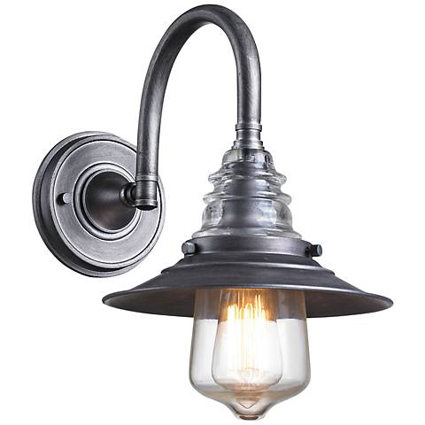 Industrial Insulator Glass Weathered Zinc Wall Sconce