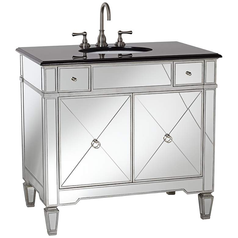 "Mackenzie Mirrored and Granite 36""W Bathroom Sink Vanity"